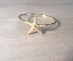 Starfish Knuckle Ring-Layering Above the Knuckle Ring Gold Brass Stackable Midi Ring-Starfish ring on Etsy, $9.50