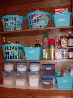 Dollar Tree pantry organization ideas --I used containers I had on hand but this pin gave me my inspiration. It has made my pantry SOOOO much more manageable.