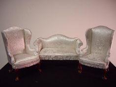 white brocaded sofa and chair set bits and pieces furniture