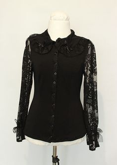 Goth or kuro lolita styled shirt Lolita Fashion, Gothic Lolita, Shirt Style, Fashion Outfits, Rose, Skirts, Clothes, Black, Dresses
