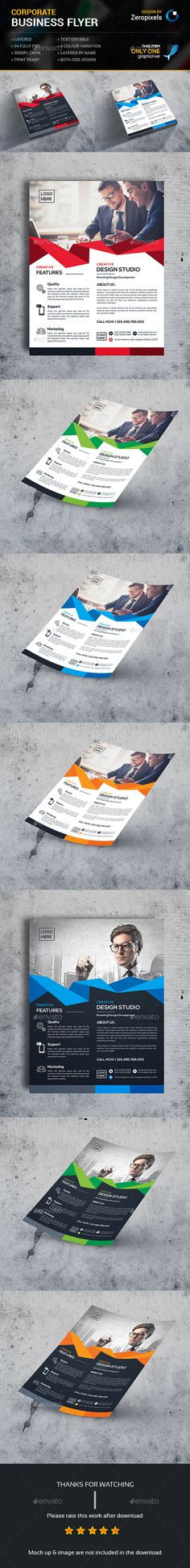Buy Corporate Flyer by zeropixels on GraphicRiver. Features: Easy Customizable and Editable Flyer in with bleed CMYK Color Design in 300 DPI Resolution Print R. Brochure Layout, Brochure Design, Booklet Design, Corporate Flyer, Marketing Materials, Brochures, Flyers, Banners, Template