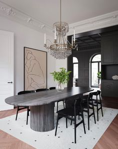 A series of renders produced for an interior design proposal for an apartment in Stockholm by Tina Bergman Architect. Luxury Dining Tables, Modern Dining Table, Luxury Dining Room, Elegant Dining, Dining Room Inspiration, Apartment Interior, Stockholm Apartment, Apartment Ideas, Dining Room Design