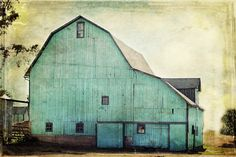 Aqua Barn 24x36 Gallery Wrapped Canvas Fine Art Photography Shabby Chic Mint Green Turquoise Teal Country Rustic Home Decor Wall Art. $400.00, via Etsy.