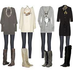big sweaters, tights, boots-- love love love!