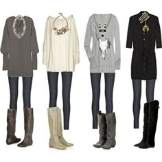 big sweaters, tights, boots, big necklace.