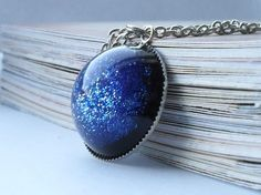 Dark blue sparkling resin galaxy necklace