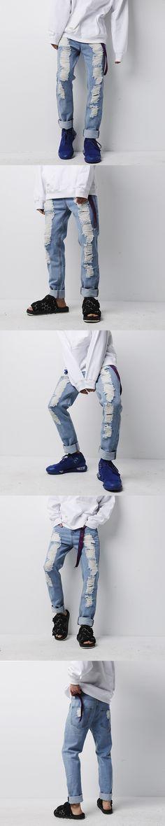 VERSMA New Korean Rock Style Summer 100% Cotton Straight Holes Biker Denim Jeans Men Fashion High Street Swag Loose Ripped Jeans