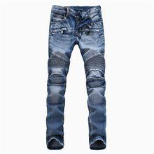 5508a8f1e69 azul delgado biker jeans de moda para hombre del dril de carga Ripped jeans  pantalones largos