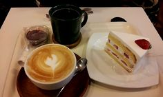 a strawberry gateau Cafe latte, Americano in Piony, Hongik University, Seoul, South Korea,