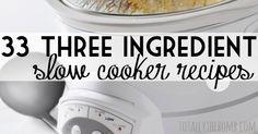 33 3 ingredient slow cooker recipes ~ good for those mornings when I don't have time to put together my regular crockpot meals Crock Pot Food, Crock Pot Freezer, Crockpot Dishes, Crock Pot Slow Cooker, Slow Cooker Recipes, Cooking Recipes, Crockpot Meals, Freezer Meals, Dump Meals