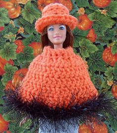 Happier Than A Pig In Mud: Pumpkin Pickin' Poncho for Barbie-Free Crochet Pattern