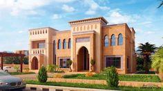 مخطط الفيلا رقم التصميم A5 من مبادرة بيتى 605 متر مربع 5 غرف نوم » arab arch Villa Design, Facade Design, Exterior Design, Village House Design, Bungalow House Design, Classic House Design, Modern House Design, Plan Ville, Square House Plans