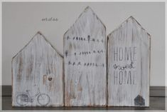 Decorative objects - 3 wooden houses - shabby - a unique product by at DaW . - Decorative objects – 3 wooden houses – shabby – a unique product by on DaWanda - Scrap Wood Crafts, Diy Wood Projects, Crafty Projects, Diy And Crafts, Woodworking For Kids, Woodworking Videos, Woodworking Projects, Little White House, Little Houses