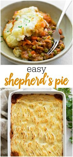 Easy Shepherd's Pie - This classic dish is homemade comfort food at its best. It has a rich beefy base, loaded with vegetables and a thick, buttery potato topping. Healthy Comfort Food, Best Comfort Food, Comfort Foods, Beef Recipes, Cooking Recipes, Recipies, Thai Recipes, Easy Shepherds Pie, Clean Eating Snacks