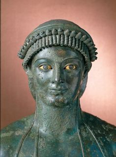Apollo (Kouros). 1st century BC or AD; bronze, copper, bone, dark stone, glass