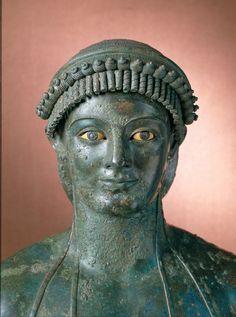 Apollo (Kouros). 1st century BC or AD; bronze, copper, bone, dark stone, glass