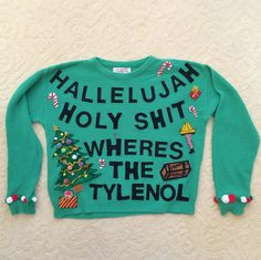 DIY Ugly Christmas Sweater inspired by my two favorite movies: National Lampoon's Christmas Vacation and A Christmas Story! Christmas Vacation Costumes, Christmas Vacation Sweaters, Diy Ugly Christmas Sweater, Ugly Sweater Party, Christmas Shirts, Its Christmas Eve, Christmas Party Themes, A Christmas Story, Santas Favorite Ho