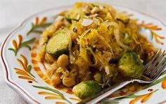 21 Healthy Spaghetti Squash Recipes: Spaghetti Squash with Roasted Brussels Sprouts and Chickpeas