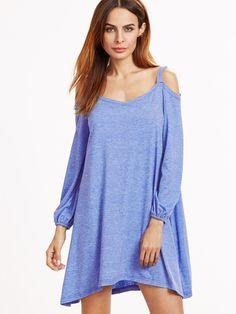 Blue Marled Cold Shoulder Lantern Sleeve Swing Dress
