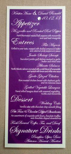 wedding menus - etsy.com