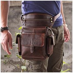 Leaokuu-Mens-Genuine-Leather-Bike-Cycling-Waist-Hip-Bum-Fanny-Pack-Drop-Leg-Bag