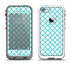 The Moracan Teal on White Apple iPhone 5-5s LifeProof Fre Case Skin Set