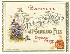 Wonderful Vintage French Perfume Label by Giraud Fils, Grasse, Paris