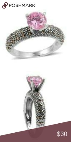 💜STERLING SILVER RING💜 SIMULATED PINK DIAMOND GENUINE MARCASITE RING SET IN PURE 925- STERLING SILVER NICKEL FREE TCW 6.370 Jewelry Rings