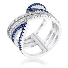 Eranth Sapphire and Clear CZ Crossover Band Ring | 0.9ct