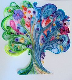 The tree of happiness (paper quilling tree, gift, – Quilled Paper Art - Geburtstag Arte Quilling, Quilling Work, Paper Quilling Patterns, Quilled Paper Art, Quilling Paper Craft, Paper Crafts, Quilling Ideas, Paper Quilling For Beginners, Quilling Techniques