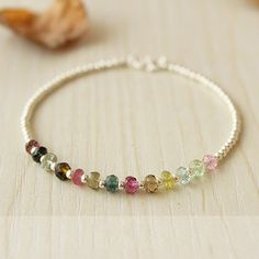 Colorful Watermelon Tourmaline Beaded Silver Bangle by Greemotion, $52.90