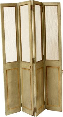 Four-fold French screen with reversible iron hinges. The upper section has wire mesh inserts, lower with recessed panel fronts. Circa 1870.