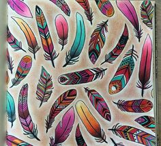 Feathers Enchanted Forest. Penas Floresta Encantada. Johanna Basford
