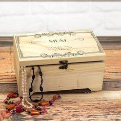 Personalised Large Wooden Jewellery Box - Scroll Design