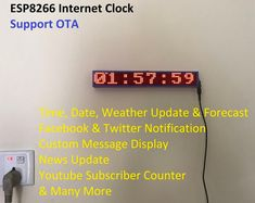 Internet Clock With Weather Update & Many More (No RTC) : 8 Steps (with Pictures) - Instructables Led Projects, Electrical Projects, Circuit Projects, Diy Electronics, Electronics Projects, Internet Clock, Esp8266 Projects, Arduino Wifi, Arduino Programming