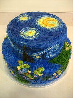 Vincent van Gogh's Starry Night inspired cake