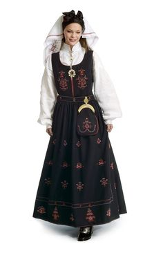 FolkCostume&Embroidery: Overview of Norwegian Costumes part the West Old Fashioned Hairstyles, Folk Costume, Costumes, Norwegian Wedding, Toddler Dress, Traditional Dresses, Dream Dress, Bellisima, Norway