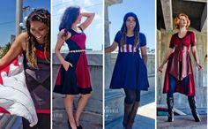 Gorgeous Dresses Inspired By 'Captain America: Civil War' Superhero Fashion, Geek Fashion, Beautiful Clothes, Beautiful Outfits, Captain America Outfit, Dress Skirt, Dress Up, Civil War Dress, Disney Bound
