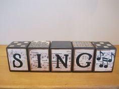 Custom wood letter blocks-sing-music home decor-vintage sheet music-music decor-music note-black and white-vintage sign-room decor