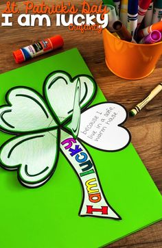 "Patrick's Day Clover ""I am lucky"" Craftivity, What attributes do your students have that make them ""lucky?"" In this St. Patrick's Day Shamrock ""I am lucky"" Craftivity students write about four thi. St Patricks Day Crafts For Kids, St Patrick's Day Crafts, Holiday Crafts, March Crafts, Holiday Activities, Fun Activities, Elderly Activities, Dementia Activities, Therapy Activities"
