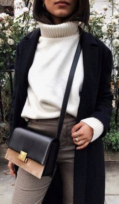 e104cba79d1e Kendall + Kylie black single breasted long coat + white turtleneck +  leather and suede satchel