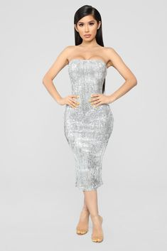 Shine Bright Like A Diamond Sequin Dress - Silver Silver Sequin Dress, Sequin Outfit, Sequin Midi Dress, Black Midi Dress, Midi Dresses, Sexy Outfits, Girl Outfits, Strapless Party Dress, Sweet 16 Dresses