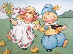 Vintage Easter Postcard 1915 Artist-signed Children