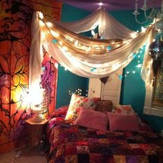 50+ bedroom decorating idea with Tapestry, Canopy and lights