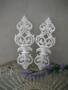 Candle Wall Sconces Shabby Chic Cottage Decor White Paris Apartment French Country