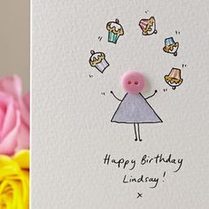 Personalised Handmade Button Juggler Birthday Card - general birthday cards