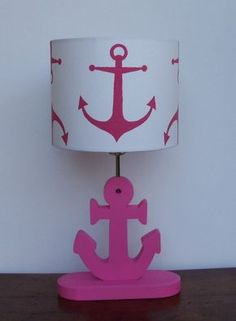 Handmade Medium Candy Pink Anchor/Nautical Theme Drum Lamp Shade - Great for Nursery or Girl's Room on Etsy, $45.88 AUD