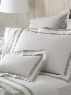 The classic elegance of the Marlowe Bed Linens derive from the two rows of wide bias tape detailed on this crisp easy-care white bed linens.
