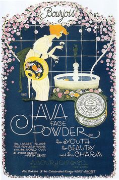 Vintage Bourjois 1919 Ad - Java Face Powder — Ah… so lovely. I admit I have an obsession with vintage makeup ads. There was a time in my teens when I bought packets of Palmolive soap for my face after reading all the ads siting how it contained. Vintage Labels, Vintage Ads, Vintage Prints, Vintage Posters, Vintage Type, Vintage Colors, Vintage Makeup Ads, Vintage Perfume, Vintage Beauty