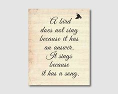 Wall Art - A bird does not sing... Inspirational Quote - Typography - 8 x 10 print on vintage sheet music, black or white background. $15.00, via Etsy.